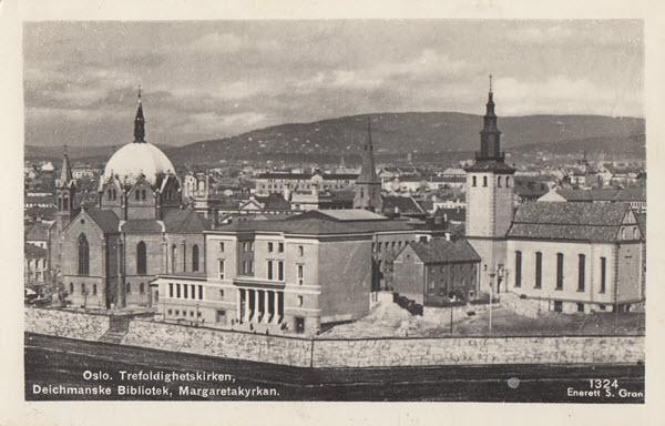Oslo. Trefoldighetskirken, Deichmanske Bibliotek, Margaretakyrkan.