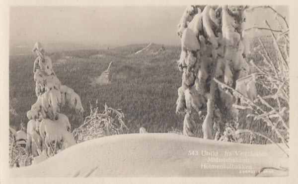 Utsikt fra Vettakollen. Midtstubakken. Holmenkolbakken.