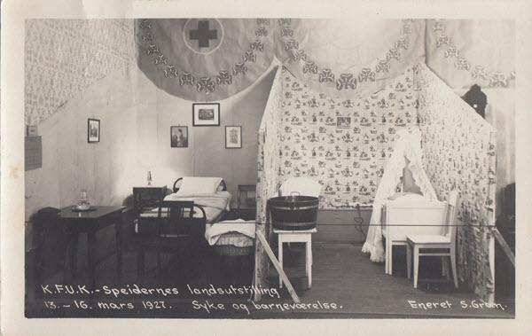 K.F.U.K. - Speidernes landsutstilling 13.-16. mars 1927. Syke og barneværelse.
