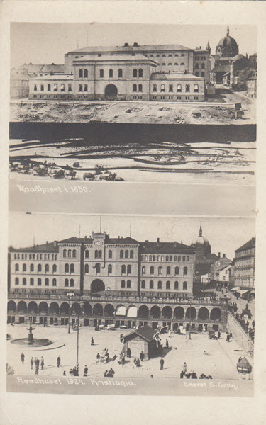 Raadhuset i 1850.<br/> Raadhuset i 1924. Kristiania.