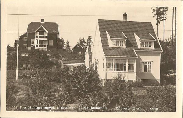 Fra Hartmannsvei. Lilleaker - Bærumsbanen.