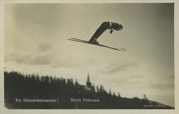 Fra Holmenkolrennene. Storm Pedersen.